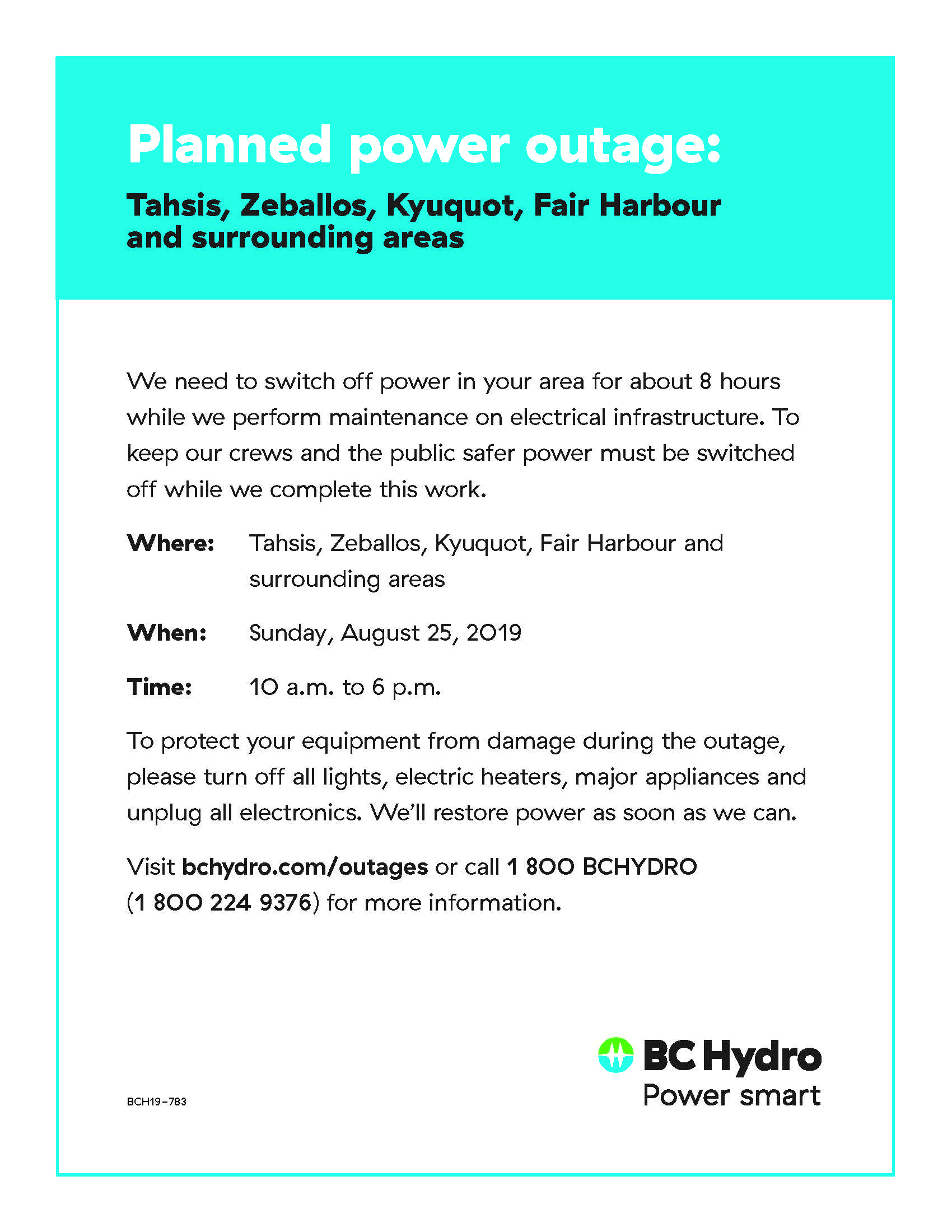 Bc Hydro Planned Power Outage August 25th Village Of Zeballos