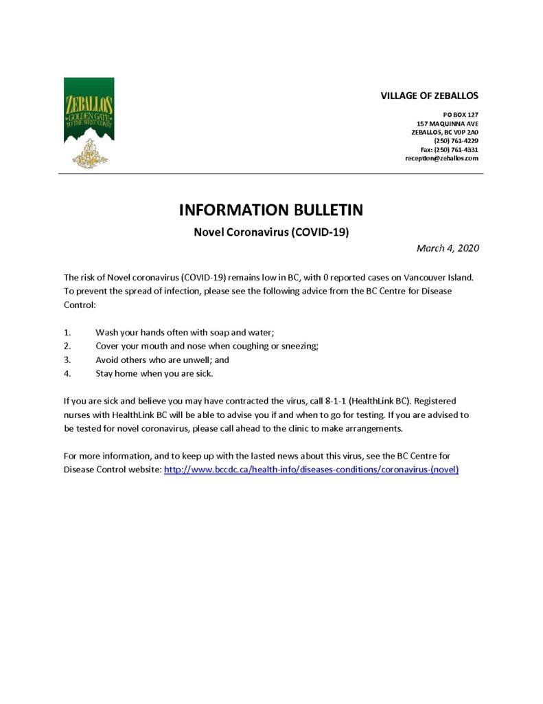 Information Bulletin Novel Coronavirus Covid 19 Village Of Zeballos